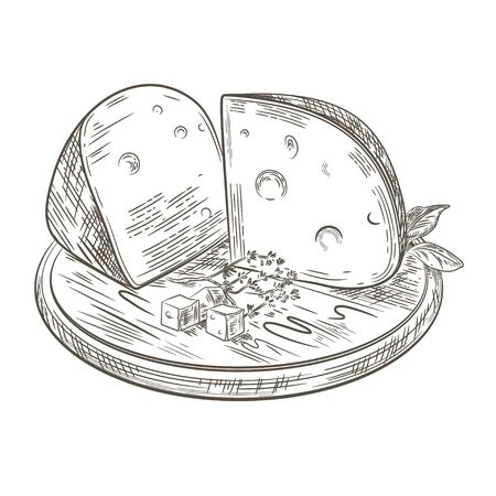 Cheese lies on a wooden cutting board. Ilustração