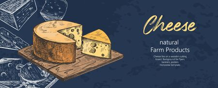 Cheese lies on a wooden cutting board. Different varieties of cheese. Vintage. Ilustração