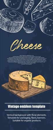 Cheese lies on a wooden cutting board. Different varieties of cheese. Vintage. Food. Background for flyers, banners, posters. Vertical banner.