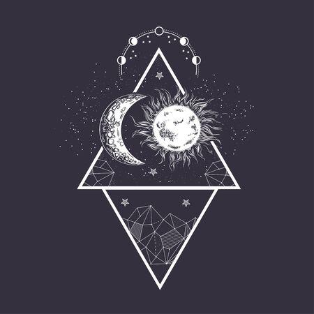 Luna y Sol. Fases de la luna. Estilo de grabado. Ilustración de la vendimia.