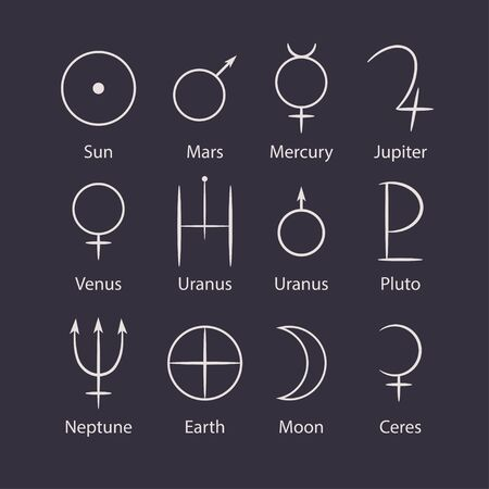 Alchemical signs of the planets. Pictograms of planets. Astronomy. Astrology.