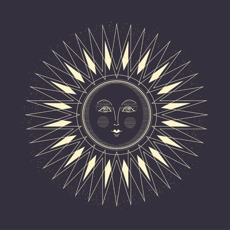 Vector image of the sun. Art Deco style.