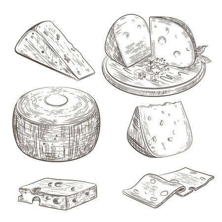 Set of different images of cheese. Pieces of cheese. Cheese lies on a wooden cutting board.