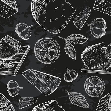 Seamless pattern with different varieties of cheese. Black background. Engraving. Vintage graphics. Dairy products. Breakfast.