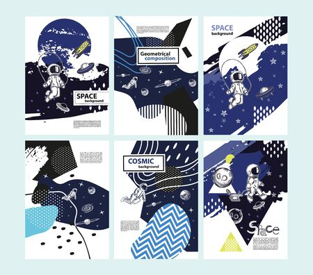 Set of space cover templates. Astronauts in space. Space objects.