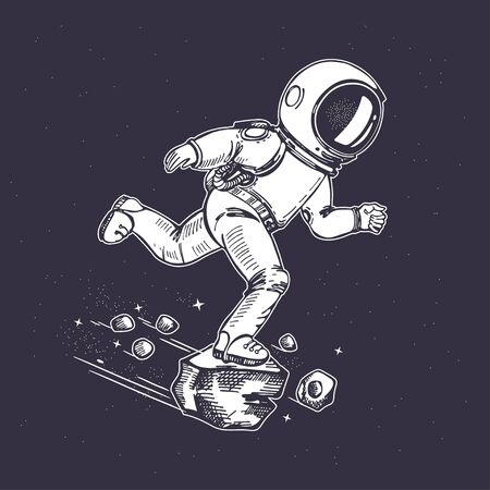 Astronaut runs in space. Sketching graphics. Hand-drawn graphics. Illusztráció