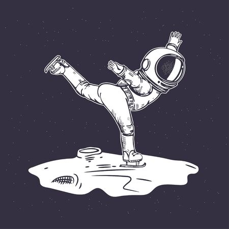 An astronaut is skating in space. Figure skating. Illustration on the theme of astronomy.