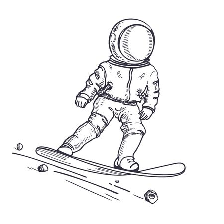 Astronaut rides on a snowboard. Coloring Page.