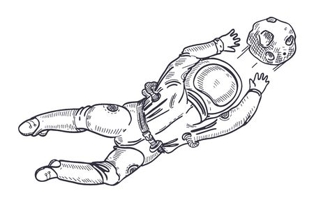 Astronaut catches a planet. Space football. Goalkeeper. Coloring Page.