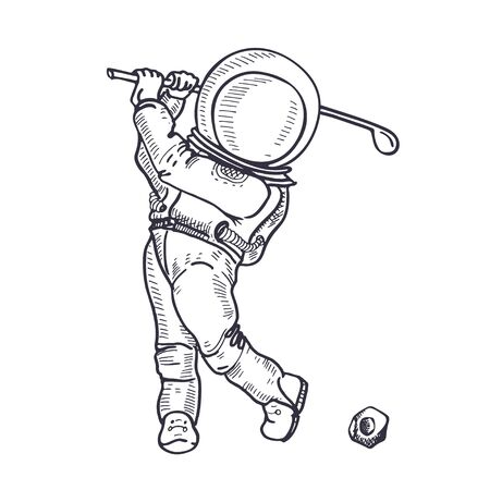 Astronaut with a golf club. The game of golf. Coloring Page. Illusztráció