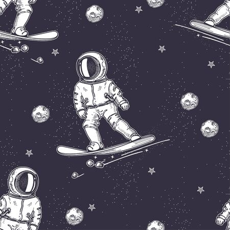 Astronaut rides on a snowboard. Hand-drawn graphics. Seamless pattern.