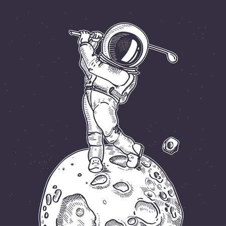 Astronaut with a golf club. The game of golf. Illustration on the theme of astronomy.