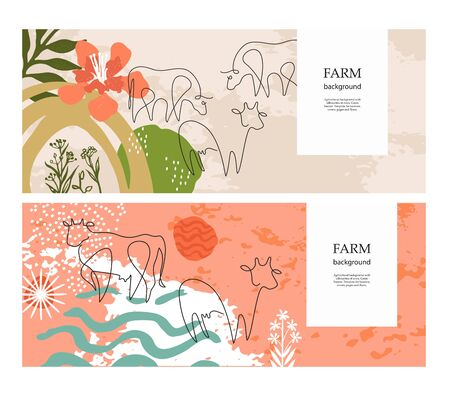 Sample for the design of dairy products. Set of horizontal agricultural banners.