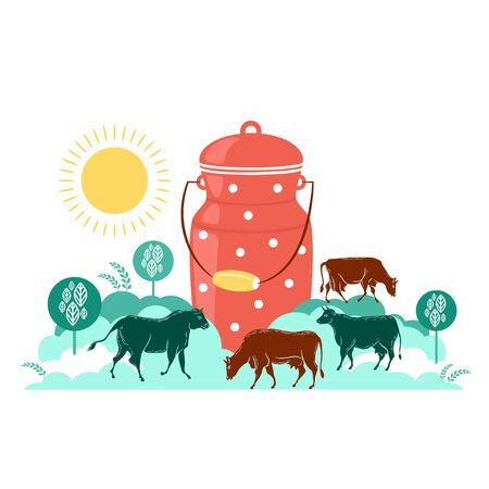 Milk can and grazing cows. Vector illustration.  イラスト・ベクター素材