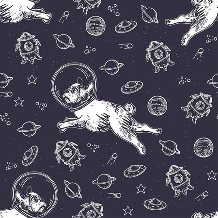 Seamless pattern with pugs, planets and rockets. Dog astronaut flies in space. Çizim
