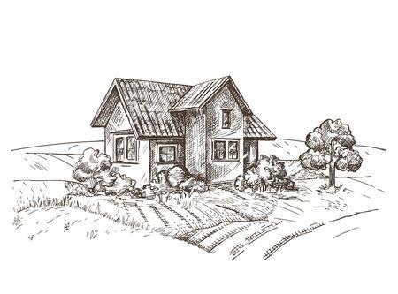 A vector image of a village house. The village landscape.