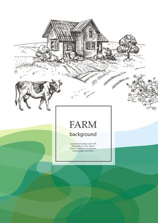 Cow and village house. Agricultural brochure layout design. An example of a backdrop for cattle farm. Vintage graphics. Vector background with wavy green patterns. Illusztráció