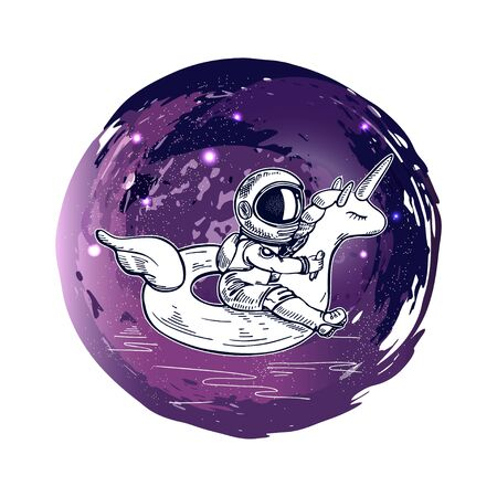 Astronaut swim on swimming circle of a unicorn in the space. Illustration on the theme of astronomy. T-shirt design. Hand-drawn graphics.