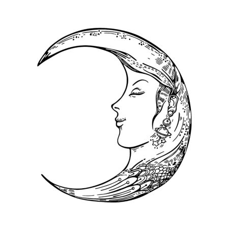 Vector image of a crescent moon. Moon face. Sketching graphics.