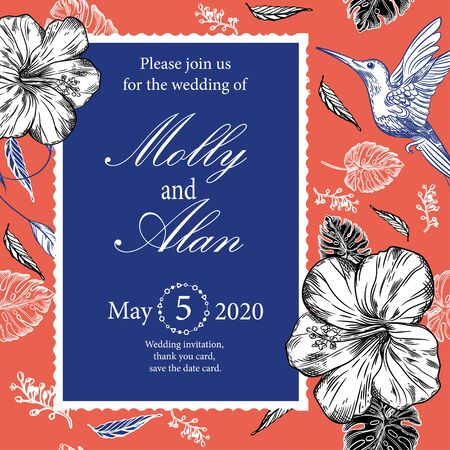 Wedding invitation with hummingbirds and tropical flowers