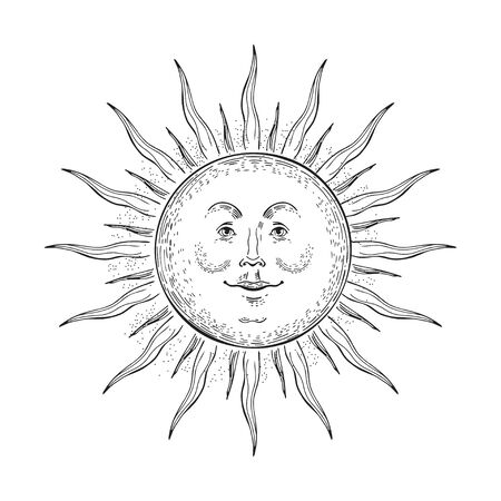 Vector image of the sun in the style of engraving.