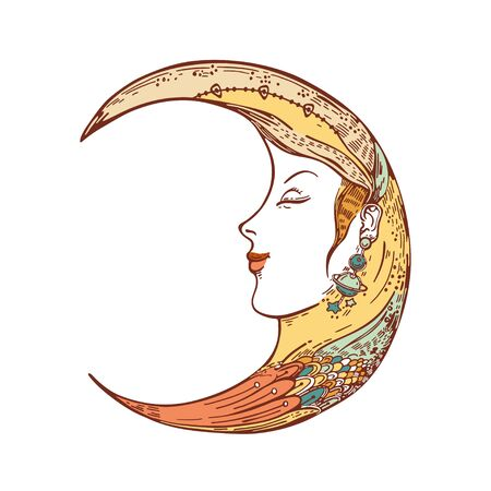 Vector image of a crescent moon. Moon face. Sketching graphics. 일러스트