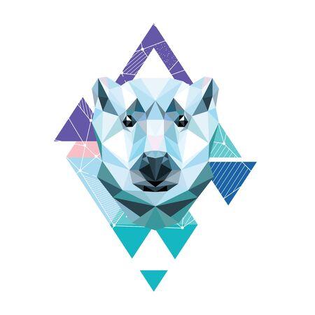 Polygonal portrait of a bear. Vector illustration