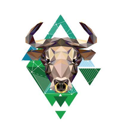 Polygonal linear portrait of a bull. Stock market bull. Çizim