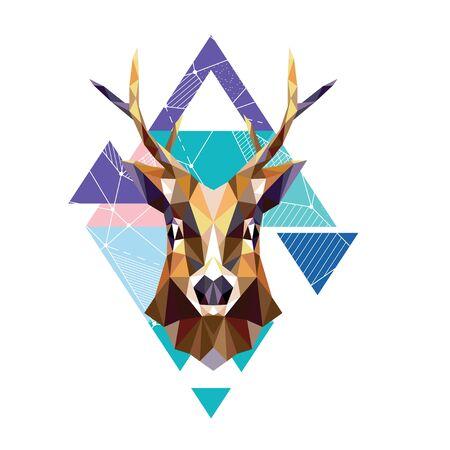Polygonal portrait of a deer. Vector illustration