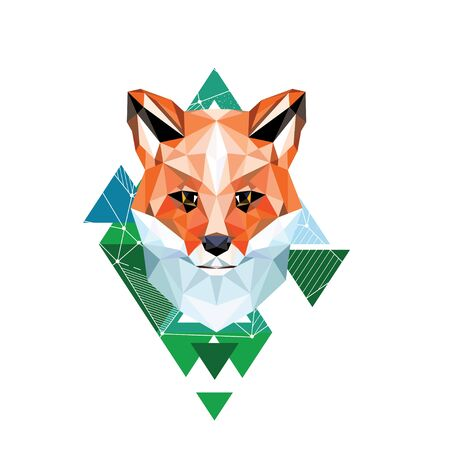 Vector image of a fox. Portrait of triangles
