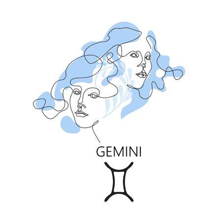 Gemini Zodiac constellation. One line. Vector illustration in the style of minimalism. Çizim