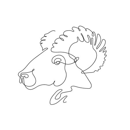 The head of a ram, drawn in one line. Continuous line. Stock Illustratie