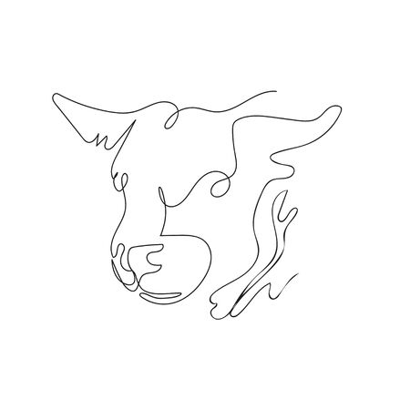 The head of a bull drawn in one line. Continuous line.