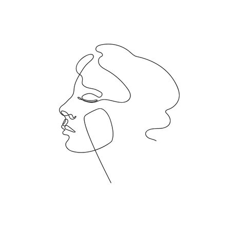 Female face drawn in one line. Continuous line. Vector illustration in a minimalistic style.