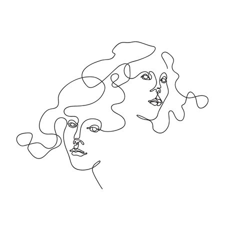 Two female faces drawn in one line. Continuous line. Çizim