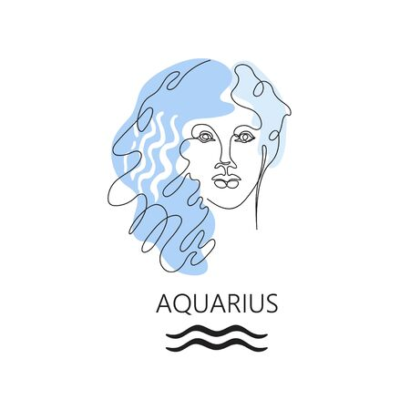 Zodiac sign Aquarius. One line. Vector illustration in the style of minimalism. Continuous line. Çizim