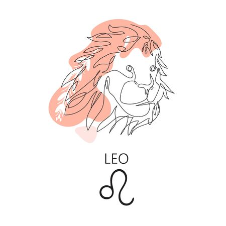 Zodiac sign Leo. One line. Vector illustration in the style of minimalism. Continuous line.