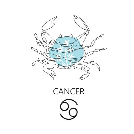 Zodiac sign Cancer. One line. Vector illustration in the style of minimalism. Continuous line. Çizim