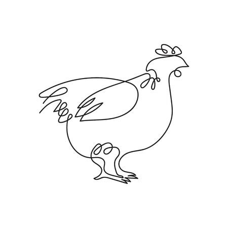 Hen drawn in one line. Vector image of a chicken.