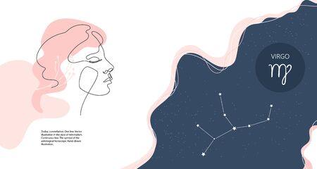 Zodiac background. Constellation virgo. Horizontal banner. One line.