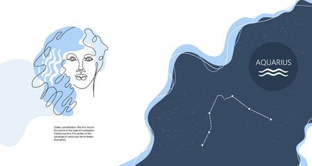 Zodiac background. Constellation Aquarius. Horizontal banner. One line.