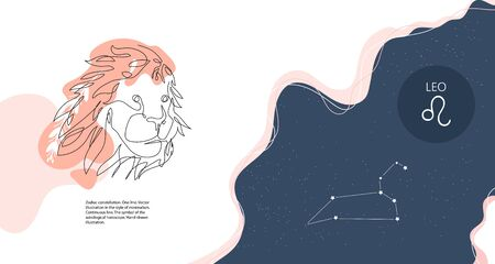 Zodiac background. Constellation Leo. Horizontal banner. Continuous line