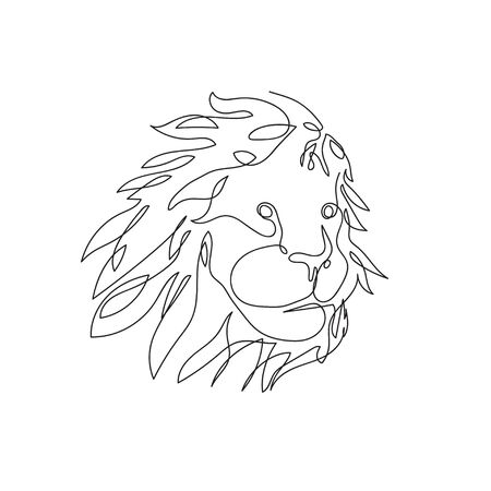 The head of a lion, drawn in one line. Continuous line. Çizim
