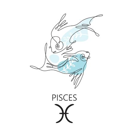 Pisces zodiac sign. One line. Vector illustration in the style of minimalism. Continuous line. Çizim