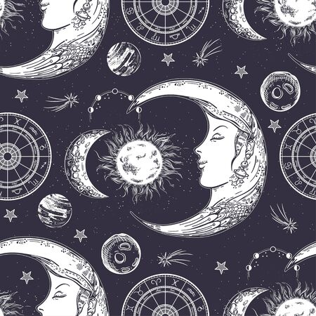 Seamless pattern. Moon face, phases of the moon, sun and crescent. Zodiac circle.