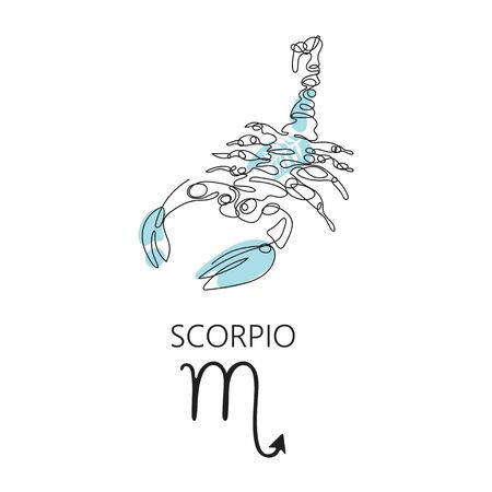 Zodiac sign Scorpio. One line. Vector illustration in the style of minimalism. Continuous line.