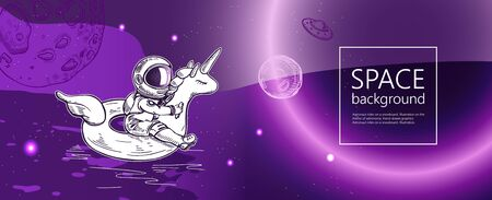 Space background. Outline astronaut, planets, satellites, flying saucers.