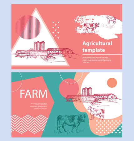 Cows, barn and grain elevator. Set of agricultural banners.