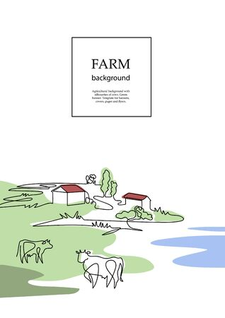 Cows and village houses. Agricultural brochure layout design. Çizim