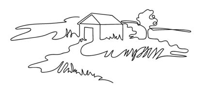 Rural landscape drawn in one line. Country house.